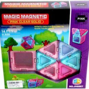 Магнитный конструктор Magic magnetic «Розовые прозрачные окна» (14 элементов, арт. JH6867)