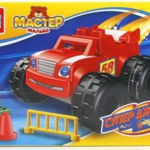 Конструктор «Большие кубики: супер джипы» (ярко-красный джип, 11 элементов)