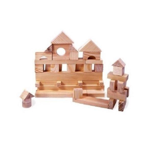 Деревянный конструктор неокрашенный, 35 деталей, в пакете