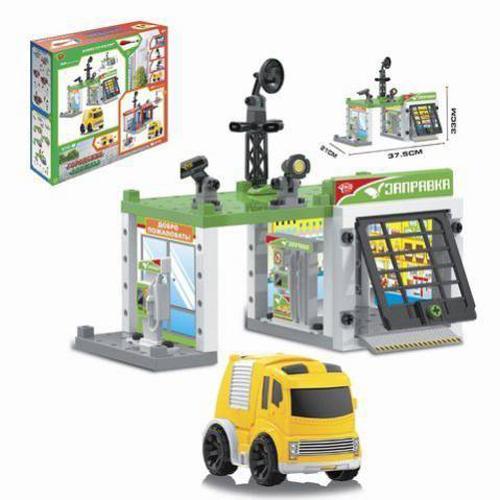 Игровой набор - Автозаправочная станция с инерционной машинкой, 50 деталей