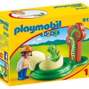 Игровой набор Playmobil «1.2.3.: Девочка и яйцо динозавра» (арт. 9121)