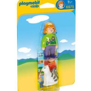 Игровой набор Playmobil «1.2.3: Девочка с кошкой» (арт. 6975)