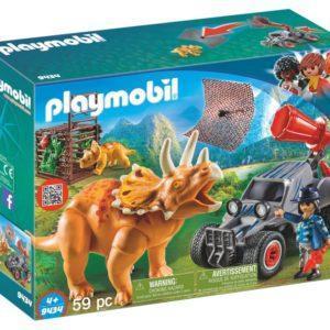 Игровой набор Playmobil «Динозавры: Вражеский квадроцикл с трицератопсом» (арт. 9434)
