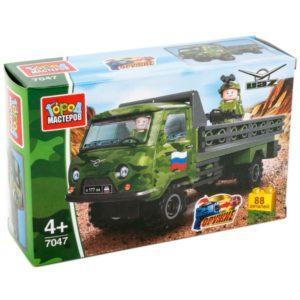 Конструктор Город мастеров «Армия: военный автомобиль УАЗ-452 с солдатом» (88 деталей, арт. 7047)