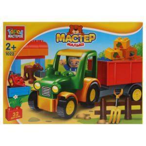 Конструктор Город мастеров «Большие кубики: Трактор с тележкой» (32 детали, арт. 1022)