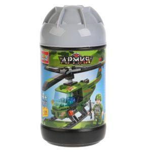 Конструктор из серии армия: вертолет, 125 деталей, в банке