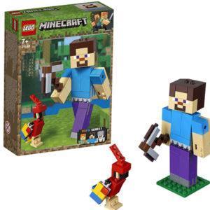 Конструктор LEGO Mineсraft (арт. 21148) «Большие фигурки Minecraft: Стив с попугаем»
