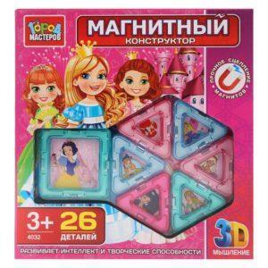 Конструктор магнитный для девочек, 26 деталей