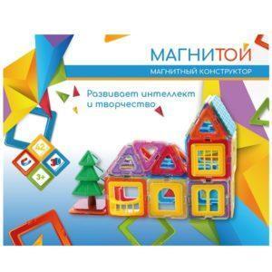 Конструктор магнитный «Дом с ёлочкой» (42 детали)