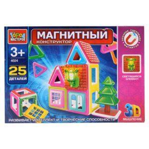Конструктор магнитный – Домик со светящимся элементом, 25 деталей