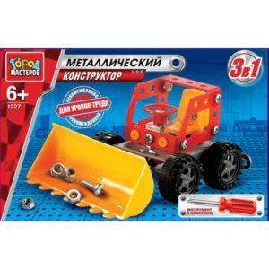 Конструктор металлический 3-в-1: грузовик, экскаватор и бульдозер