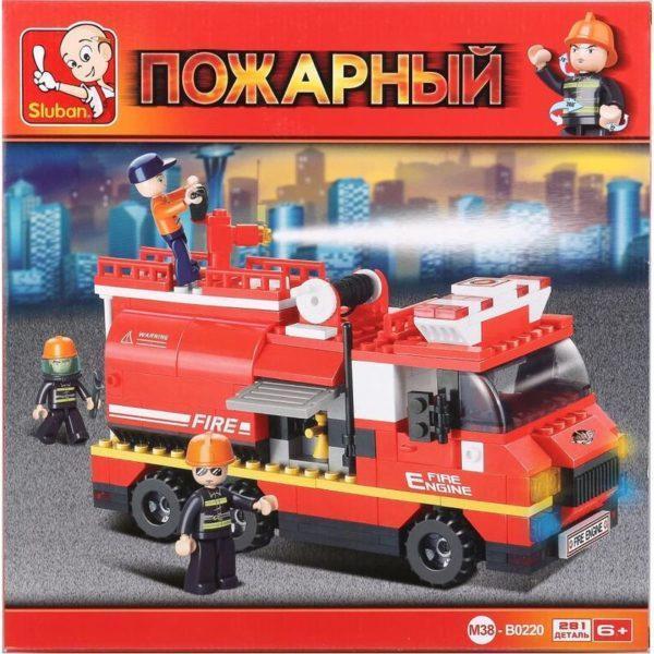 Конструктор пластиковый Sluban «Пожарная машина» (281 деталь, арт. M38-B0220)