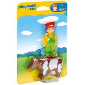 Конструктор Playmobil 1.2.3.: Фермер с коровой