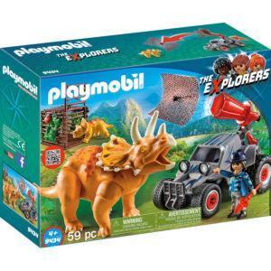 Конструктор Playmobil «Динозавры: Вражеский квадроцикл с трицератопсом» (арт. 9434)