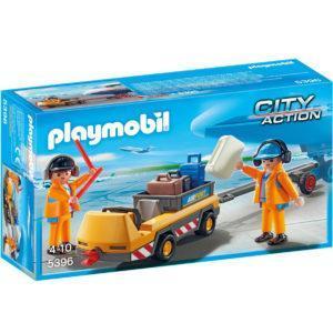 Конструктор Playmobil «Городской аэропорт: Буксир самолёта с наземной командой» (арт. 5396)