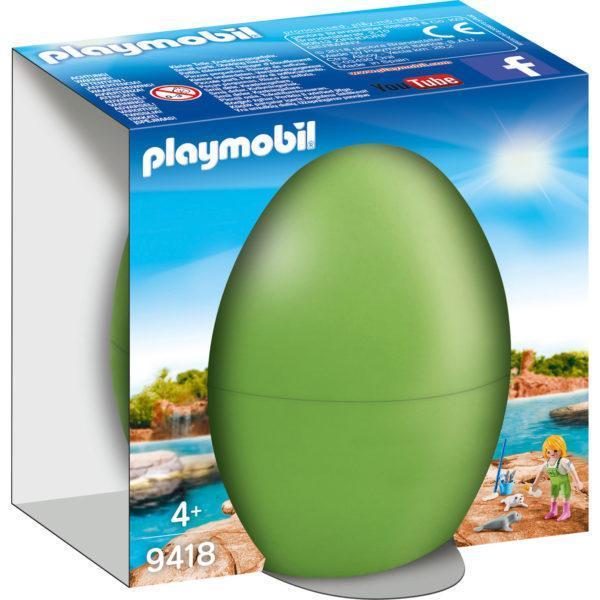 Конструктор Playmobil «Пасхальное яйцо: Смотритель зоопарка с детенышами тюленя» (арт. 9418)