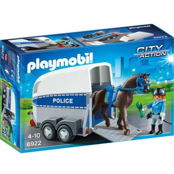 Конструктор Playmobil Полиция: Полиция с лошадью и прицепом