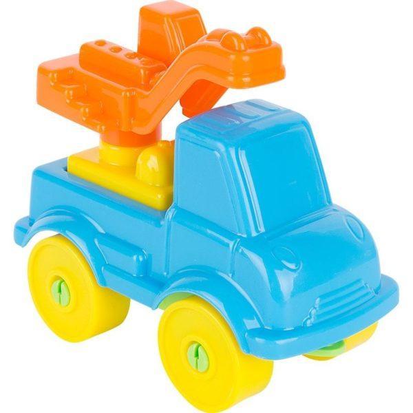 Конструктор Полесье Юный путешественник - Автомобиль-кран (8 элементов) (в пакете) голубая
