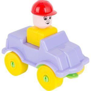Конструктор Полесье Юный путешественник - Автомобиль легковой (9 элементов) (в пакете) на фиолетовой машине
