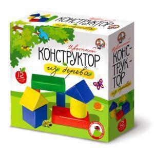 Кубики деревянные - конструктор 12 элементов, окрашенный