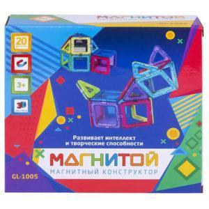 Магнитой GL-1005 Конструктор магнитный 12 квадратов, 8 треугольников (8 - с окном)