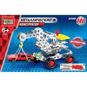 Металлический конструктор Город Мастеров – Кран с автомобилем, 146 деталей
