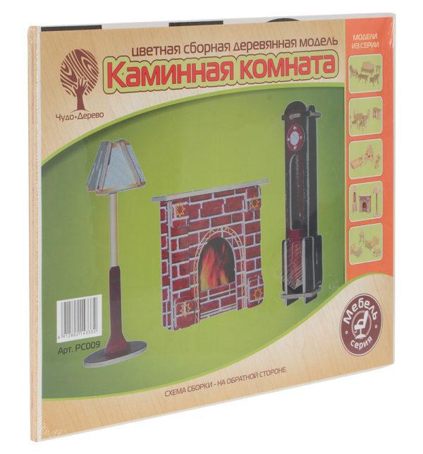 Сборная деревянная модель «Каминная комната: Часы, лампа и камин» (арт. PC009)
