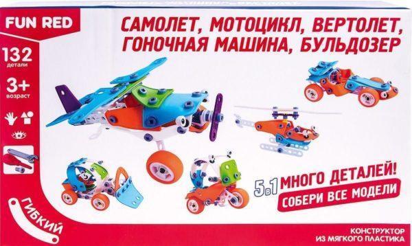 "Fun Red ""Транспорт 5 в 1 - 132 детали"" - гибкий конструктор"