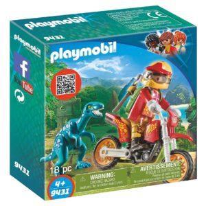 Игровой набор Playmobil «Динозавры: Гоночный мотоцикл с ящером» (арт. 9431)