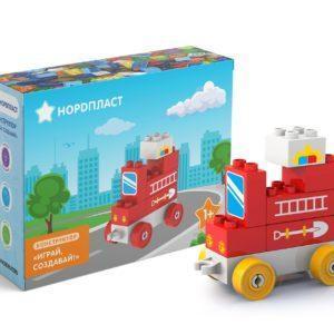 Конструктор Нордпласт «Играй, создавай: Пожарная машина» (7 деталей, арт. 480606)
